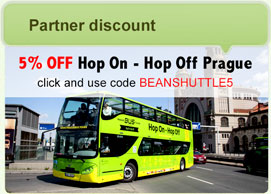 Prague hop-on hop-off tour discount coupon: BEANSHUTTLE5